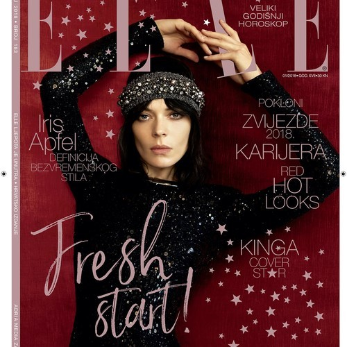 Kinga Rajzak for Elle Croatia Cover January 2018